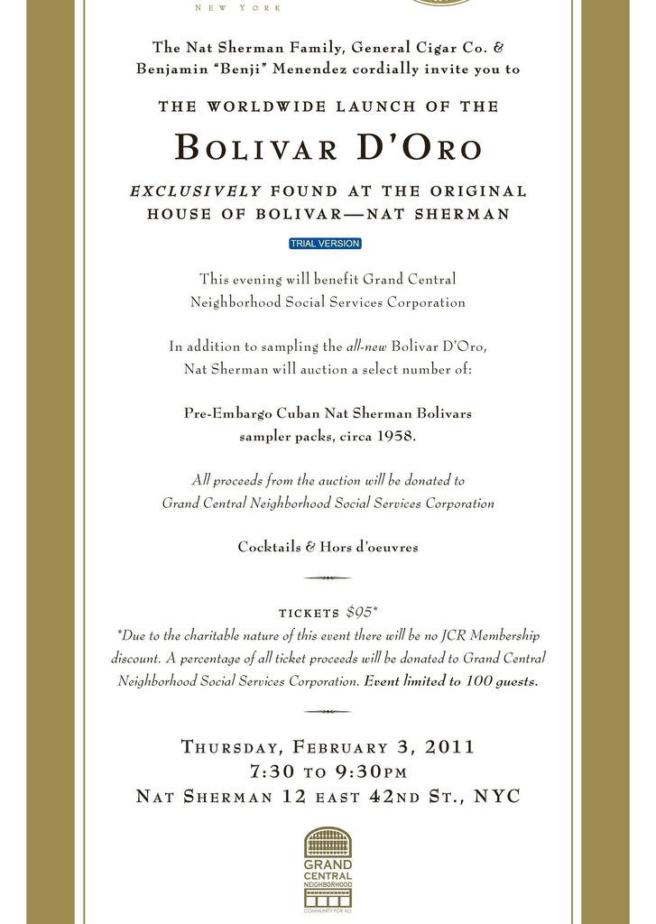Event Announcement: Bolivar D'Oro Worldwide Launch at Nat Sherman