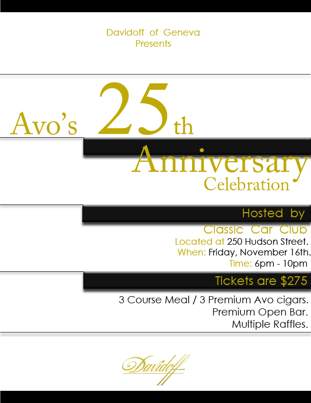 Davidoff of Geneva Announces AVO 25th Anniversary Dinner