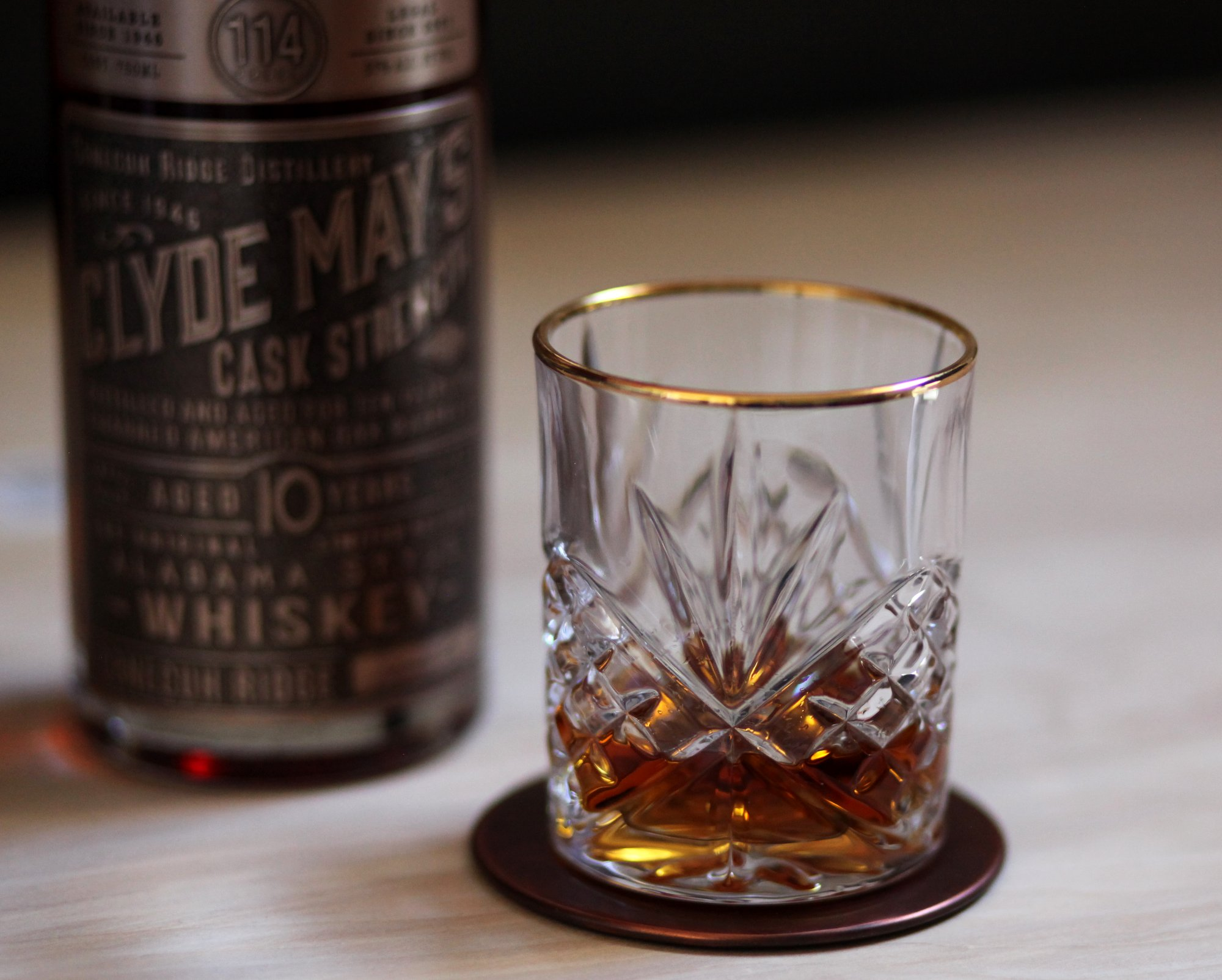 Clyde May's Cask Strength 10 Year Whiskey in Glass