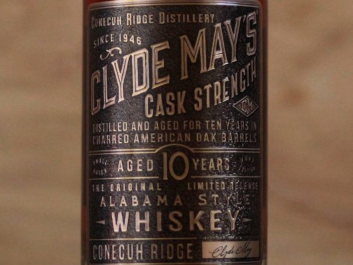 Clyde May's Cask Strength 10 Year Whiskey label